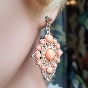 Pair of Orange Gold Jeweled Drop Pierced Earrings